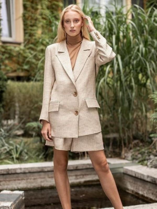 Camélle Houndstooth-Check Linen Blend Blazer