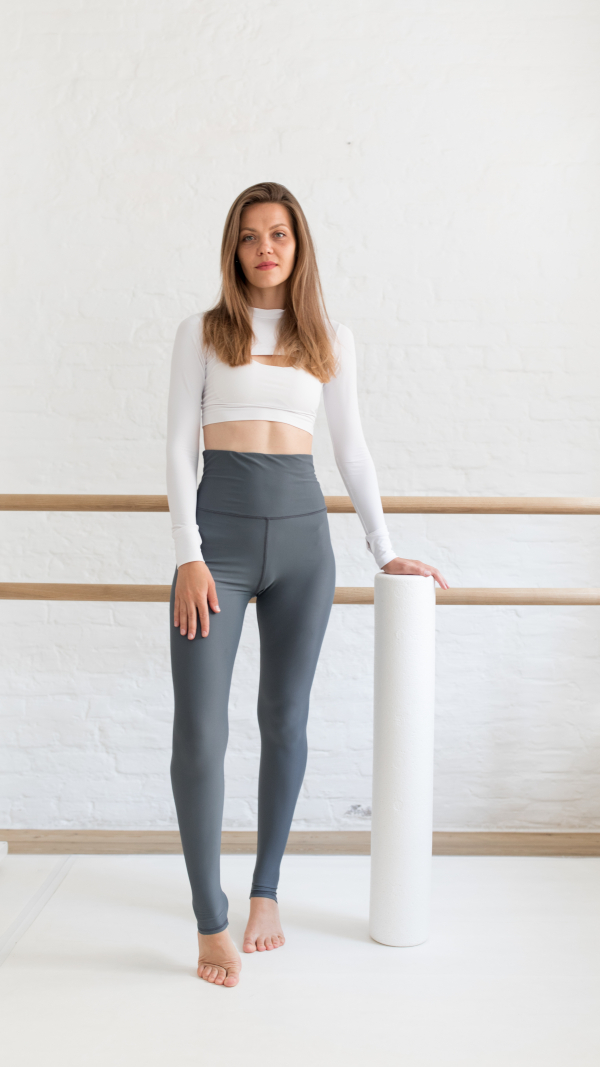 Combo Top with long sleeve and Leggince WAY white-grey 1