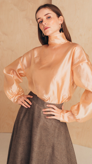 Silk-Organza Blouse With High Neck 2