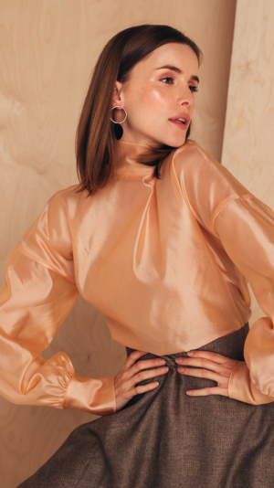 Silk-Organza Blouse With High Neck 1