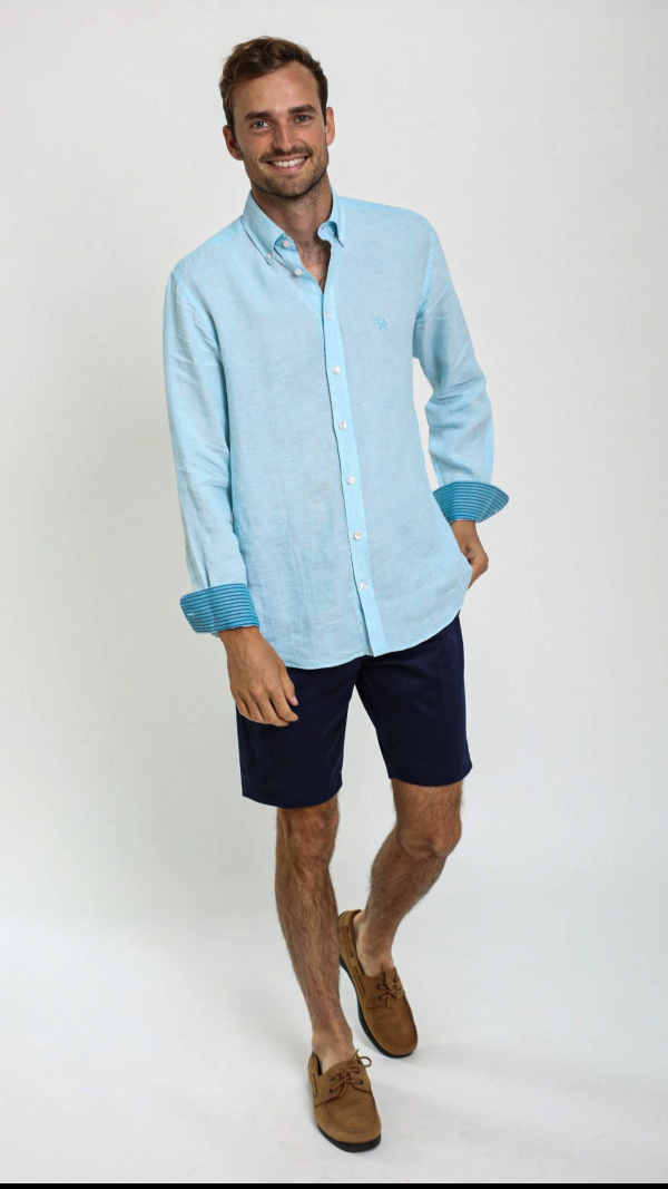 Turquoise Linen Shirt with African Fabric Trim 2