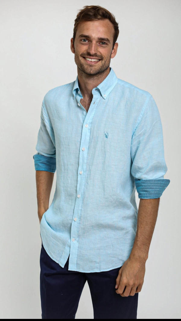 turquoise_linen_shirt_with_african_fabric_trim_2