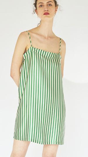 Striped Silk Slip Dress 1