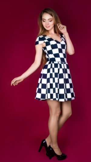 Fit And Flare Cocktail Geometric Check Mini Dress 2