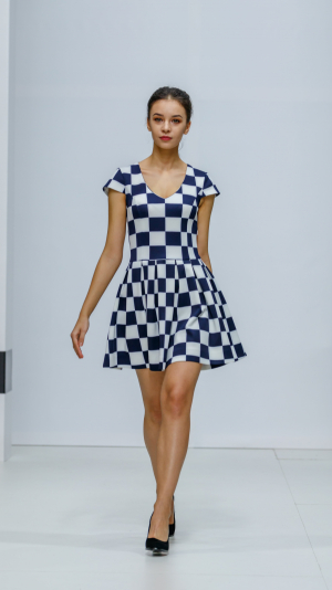 Fit And Flare Cocktail Geometric Check Mini Dress 1