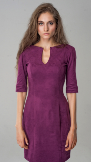 Casual Fuchsia Suede Short Dress V-neck 3/4 Office Wear 1