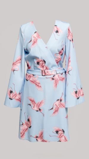 Midi Dress With Long Sleeves Bird Print 1
