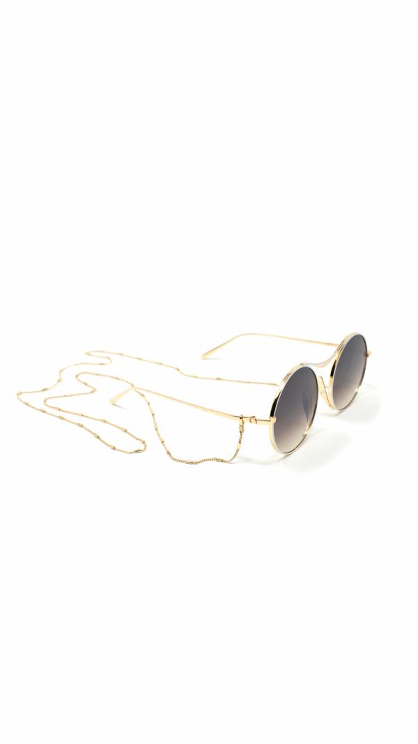 SULIS white - sunglasses, chain & leather case 2