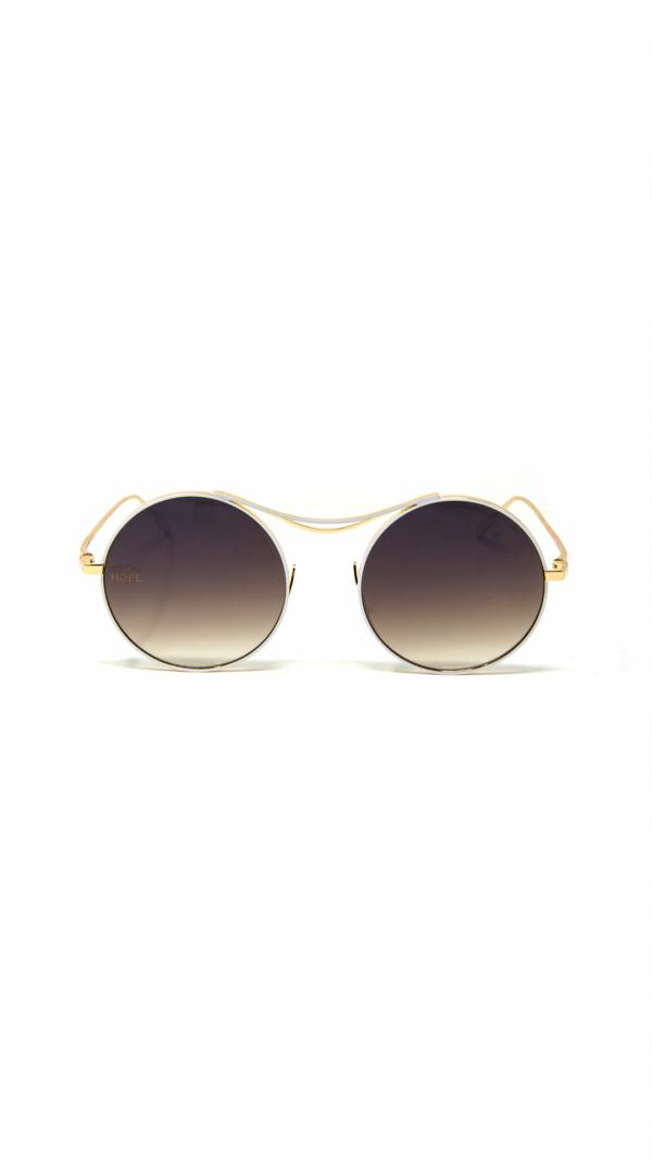 SULIS white - sunglasses, chain & leather case 1