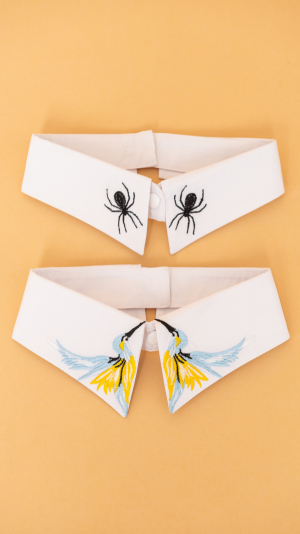 Detachable Embroidered Collar With Spiders 100% Cotton 2