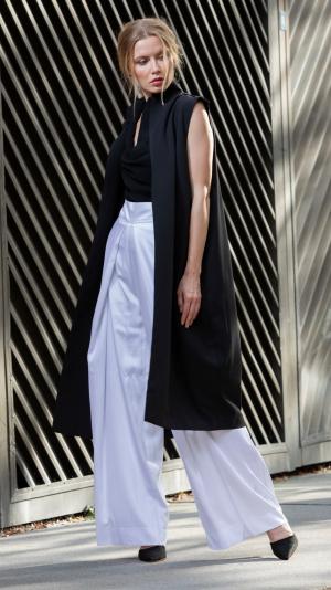 White long, high waist pants 1