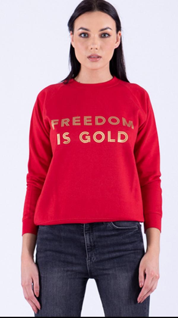 Sweatshirt Freedom Is Gold Red 2
