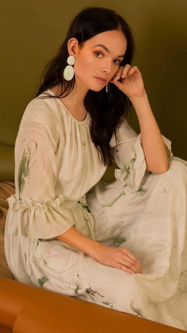 Hand Marbled Silk Gather Dress - White & Green 2