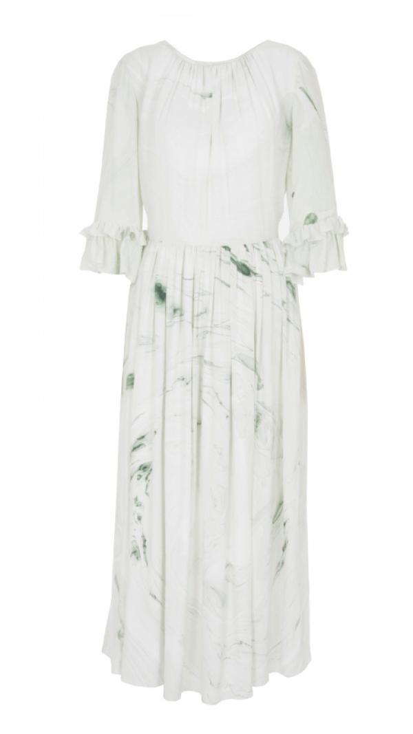 Hand Marbled Silk Gather Dress - White & Green