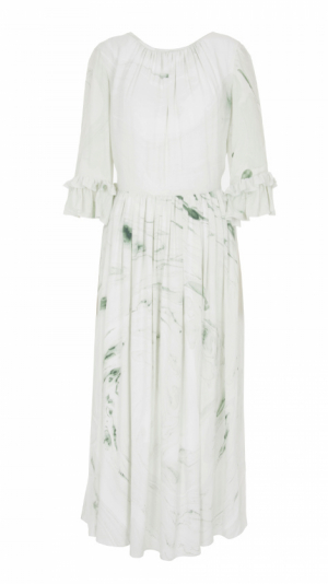 Hand Marbled Silk Gather Dress - White & Green 1