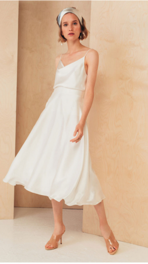 Flattering Silk Midi Skirt 1