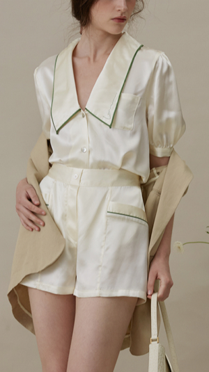 French Style Short Pajama Suit 2
