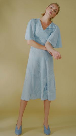 Silk Hand Marbled Open Back Dress - Blue 2