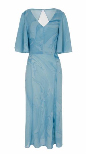 Silk Hand Marbled Open Back Dress - Blue 1