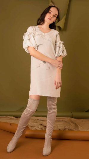 Hand Marbled Silk Tunic Dress - White & Grey 2