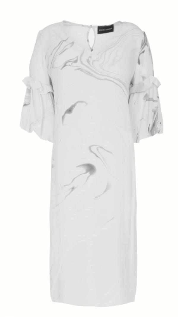 Hand Marbled Silk Tunic Dress - White & Grey
