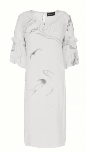 Hand Marbled Silk Tunic Dress - White & Grey 1