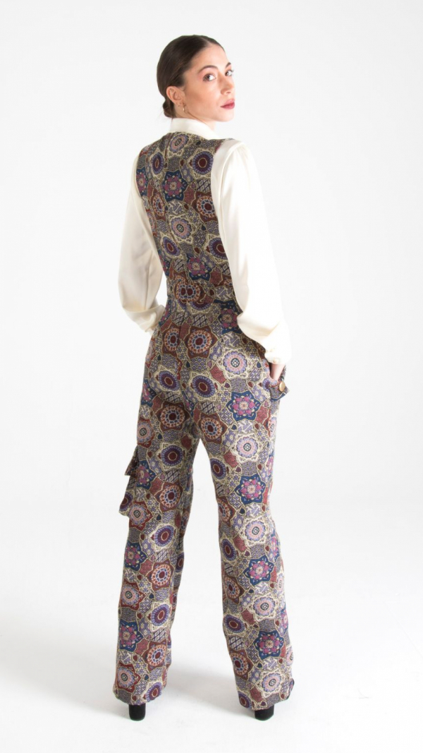 Multicolor Long Canvas Dungarees with Pockets 2