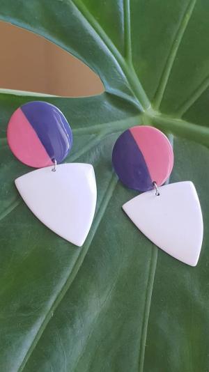 porcelain purple & white earrings 2
