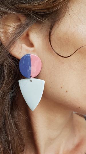 porcelain purple & white earrings 1