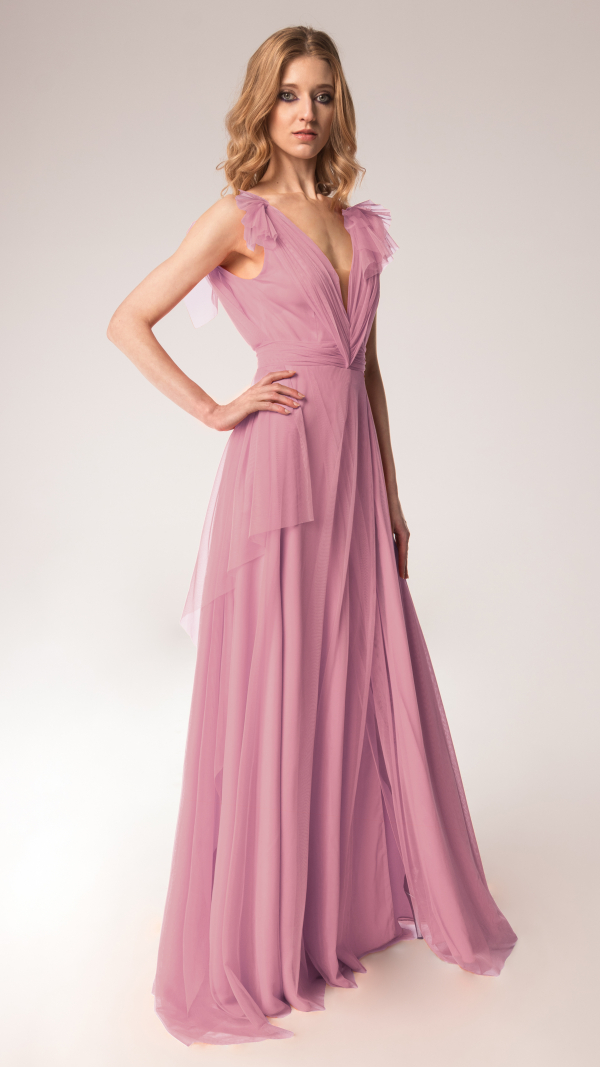 Elegant Tulle Maxi Dress Dusty Pink 2