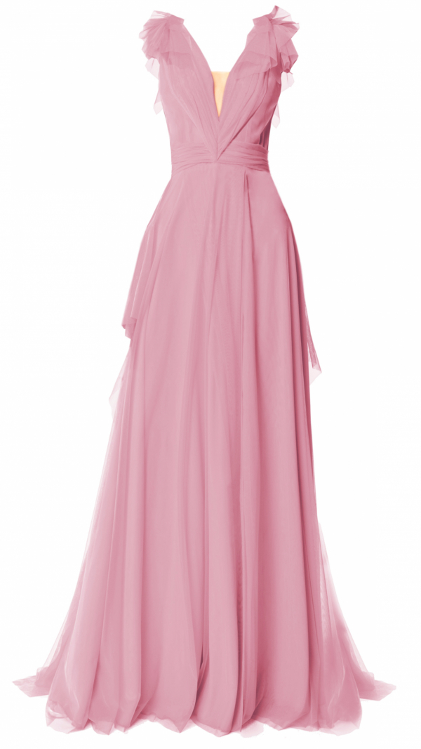 Elegant Tulle Maxi Dress Dusty Pink