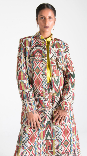 Multicolor Canvas Jacket with Pockets 1