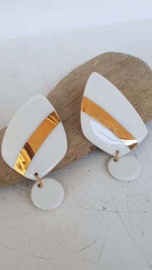 porcelain gold&white earrings 2