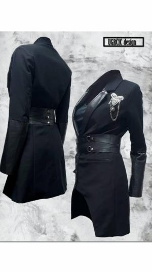 Women's black blazer with leather details 1