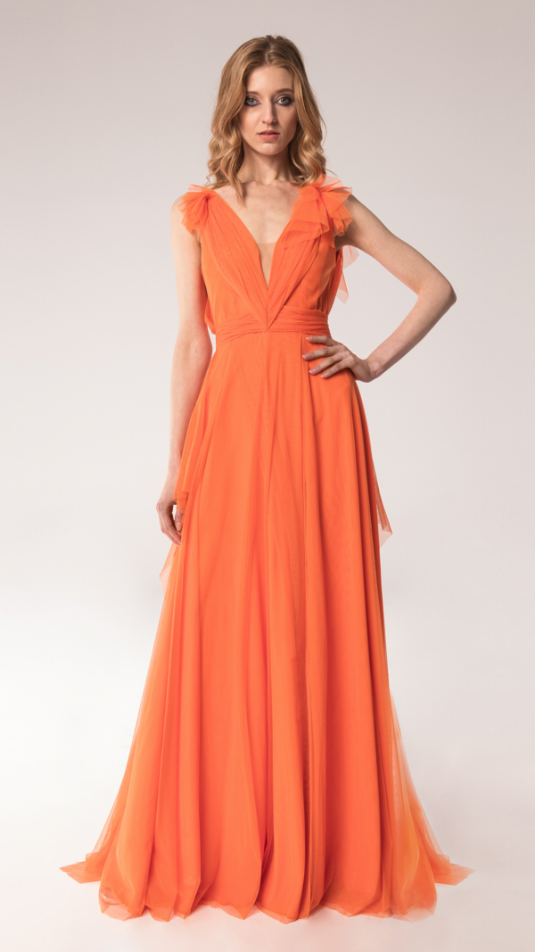 Elegant Tulle Maxi Dress Terracotta 2
