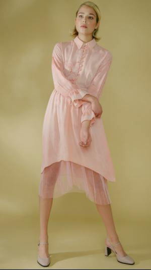 Marbled Silk Button Up Dress - Pink 2