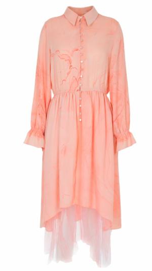 Marbled Silk Button Up Dress - Pink 1