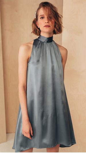 Short Silk Dress with High Neck 1