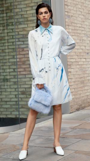 Hand Marbled Silk Button Up Dress - Blue & Grey 2