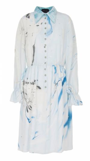 Hand Marbled Silk Button Up Dress - Blue & Grey 1