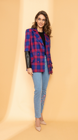 CHECKERED BLAZER WITH LEATHER INSERTS 2