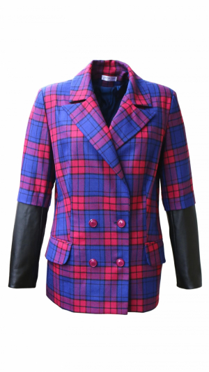 CHECKERED BLAZER WITH LEATHER INSERTS 1