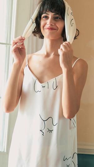 Face Line Art Printed Silk Slip Dress - White 2