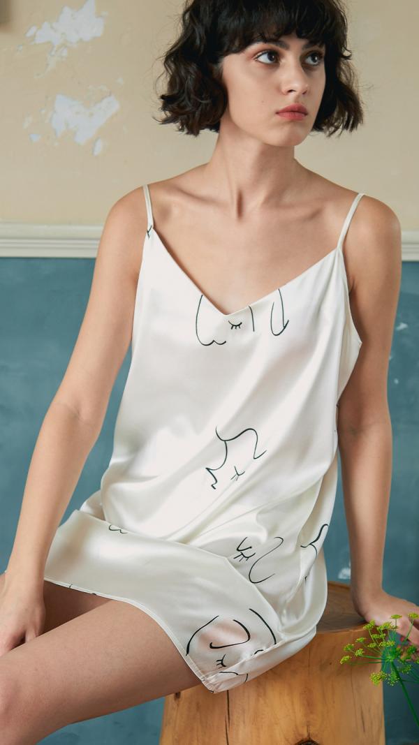 Face Line Art Printed Silk Slip Dress - White 1