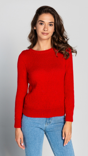 Red Wool Women's warm sweater Hand knitted pullover 2
