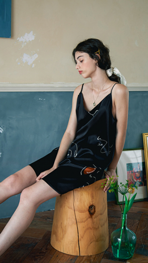 Face Line Art Printed Silk Slip Dress - Black 2