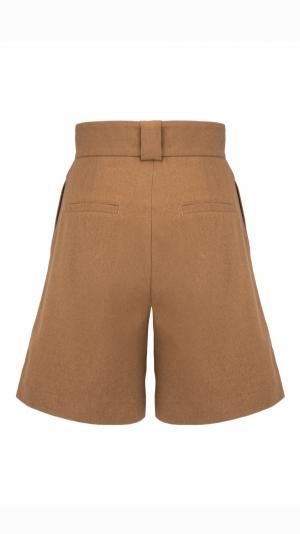CAMÉLLE high-waist pleated brown shorts 2