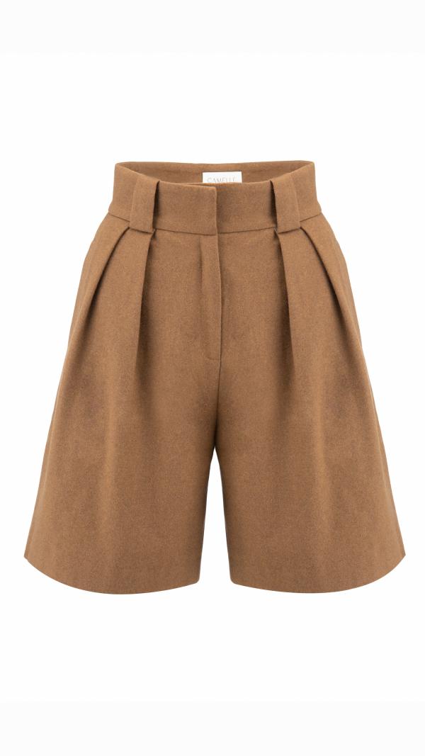 CAMÉLLE high-waist pleated brown shorts 1