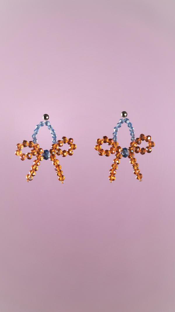 Orange Bow Earrings