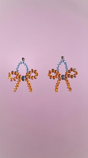Orange Bow Earrings 1